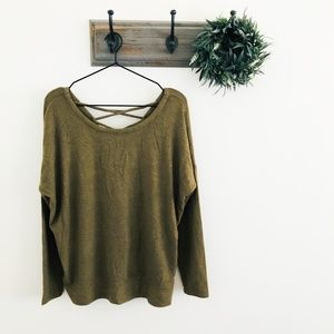 NWT Chaser Green Tie Back Fuzzy Sweater M